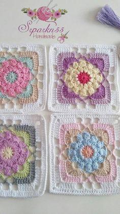 Mutlu akşamlar 💕💕💕💕💕 İplik gazzal baby cotton himalaya deluxe b. - Crochet and Knitting Patterns Mutlu akşamlar 💕💕💕💕💕 İplik gazzal baby cotton himalaya deluxe b. - Crochet and Knitting Patterns. Crochet Motifs, Crochet Blocks, Granny Square Crochet Pattern, Crochet Flower Patterns, Afghan Crochet Patterns, Crochet Squares, Knitting Patterns, Granny Squares, Crochet Granny