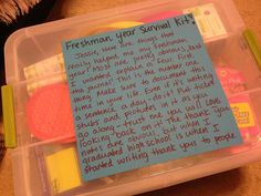 journal everything. Freshman college survival kit-this one is really good! Lots of little things I never would've thought of