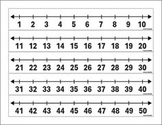 Printable Number Line 1 to 50 Large - Class Playground Math Fractions, Math Math, Math Games, Math Activities, Printable Number Line, Printable Numbers, Printable Math Worksheets, School Worksheets, Numbers For Kids