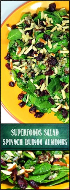 Inspired By eRecipeCards: SUPERFOODS SALAD Spinach Quinoa Craisins Almonds Grains MORE - 52 Church Potluck Salads