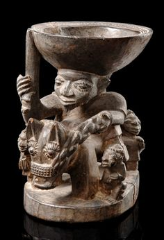 "Africa | Divination bowl ""agere ifa"" from the Yoruba people of Nigeria 