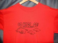 "Men's Arkansas Razorbacks Football NCAA ""Go Hogs Go!"" T-shirt Red Large Anvil #Anvil #ArkansasRazorbacks"