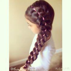 Four strand braid with a ribbon! / trenza de cuatro con cinta ! / braids / long hair / hairstyle/ trenzas / peinados