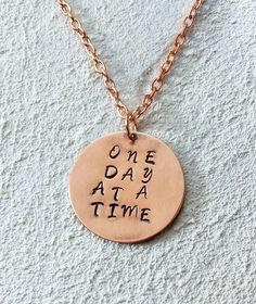 Hand Stamped Brushed Copper Necklace - One Day at a Time #Handmade #Statement