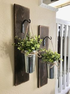 Wooden wall Planter - Large Set of Galvanized Metal Hanging Planter with Greenery or Flowers, Farmhouse Decor Rustic Wall Decor, Country Wall Decor, Home Decor. Country Wall Decor, Rustic Wall Decor, Rustic Farmhouse Decor, Galvanized Decor, Galvanized Metal, Target Home Decor, Diy Home Decor, Metal Hanging Planters, Bathroom Wall Art