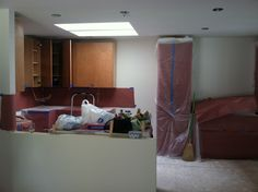 Kitchen cabinet install begins