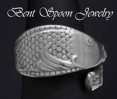 Spoon Ring Vintage Swedish Fish Size 8 Unisex by Bentspoonjewelry