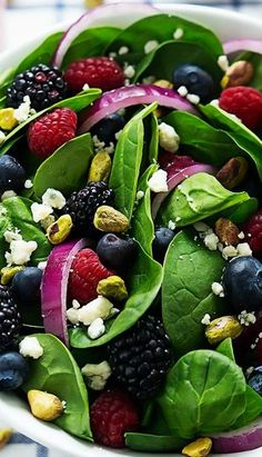 Berry Pistachio Spinach Salad with Berry Vinaigrette