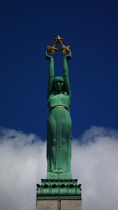 """Lithuanian Art Deco Statue of Freedom atop the """"Monument to Freedom"""", Riga, Latvia."""