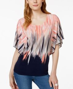 JM Collection Embellished Printed Butterfly-Sleeve Top, Only at Macy's