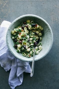 {for buzzfeed} spring veg pasta salad with quick pickled chilies and creamy mustard scallion dressing.