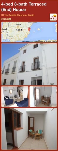 Terraced (End) House for Sale in Oliva, Gandia Valencia, Spain with 4 bedrooms, 3 bathrooms - A Spanish Life French Windows, Valencia Spain, Open Fires, Open Plan Kitchen, Double Bedroom, Dining Area, Guest Room, Townhouse, Terrace