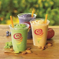 Almond Milk is here! Try one of our 3 NEW Almond Milk Smoothies. See more in our profile. #LoveatFirstSip #AlmondMilk #Smoothies #Pumpkin #PBandJ #Matcha