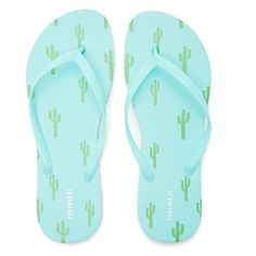 5e6adb1f72d Forever21 Cactus Print Flip Flops ( 3.90) ❤ liked on Polyvore featuring  shoes