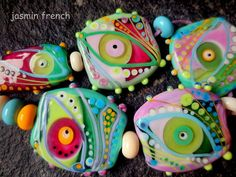 jasmin french      'in a raspberry shrub'    lampwork beads set sra