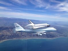 The space shuttle Endeavour and its 747 carrier aircraft soar off the California coast near Ventura as it heads to the Los Angeles area during the final portion of its tour of California, September (NASA/Jim Ross) California Tours, California Coast, Ventura California, Star Citizen, Endeavor Shuttle, Nasa Missions, Los Angeles Area, To Infinity And Beyond, Space Travel
