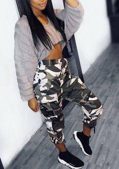 Pantalons longues camouflage avec poches style militaire décontracté femme  gris Pantalon Camouflage Femme b56748fc3ad