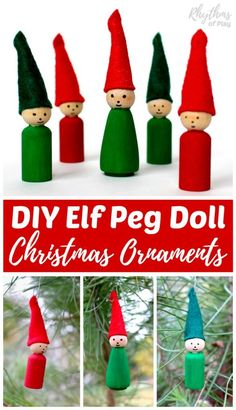 Homemade DIY Elf Peg Doll ornaments are an easy Christmas craft for kids and adults. Elf Ornaments are an easy handmade decoration and gift idea! Cheap Diy Headboard, Diy Headboards, Do It Yourself Organization, Christmas Fun, Christmas Ornaments, Christmas Crafts For Kids, Christmas Activities, Homemade Christmas, Rustic Christmas