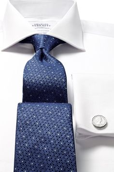 Woven geo lattice tie, Charles Tyrwhitt shirt