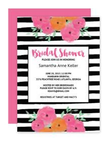 12 Bridal Shower Templates That You Won't Believe Are Free: Floral Striped Bridal Shower Invitation from Chicfetti Wedddings