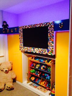 Our DIY! Lego TV border, Lego alphabet banner with LED lights.... 3500+ pieces!