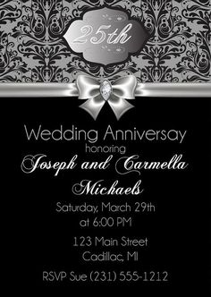 25th Anniversary Invitation, 25th Wedding Anniversary Invitation, Silver Diamond Party Printable