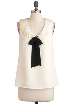 Might as Malvern Wells Top - Mid-length, White, Black, Bows, Peter Pan Collar, Work, Sleeveless, Party, Vintage Inspired