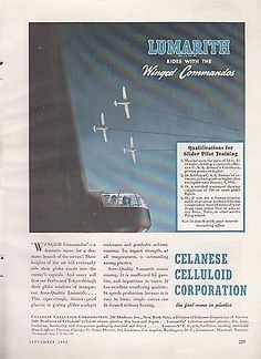 1942 #celanese #celluloid corp new york ny ad: winged #commandos glider aircraft,  View more on the LINK: http://www.zeppy.io/product/gb/2/311612912014/