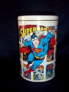 SuperMan Kids Room Toy Bucket Tin Metal type w/ Lid Comic Book Heros  $30.00 via Innerflowconnections