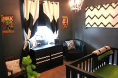 "A unique boys nursery that doesn't scream ""babies room"", chevron, stripes, green, black, white, super heroes, spiderman, hulk, curtains, rocking chair, pillow, etsy, crib, dresser, baby, boy, little, room, playroom, bedroom,"