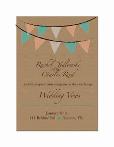 Burlap  Bunting Wedding Invites DIY Custom by AestheticJourneys, $15.00