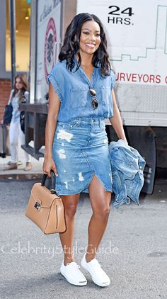 Gabrielle Union. Why we love this look: If you go for denim, go for it! Bag works great too.