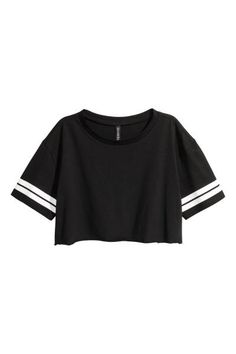 Cropped printed T-shirt in cotton jersey with a cut-off, raw-edge hem.