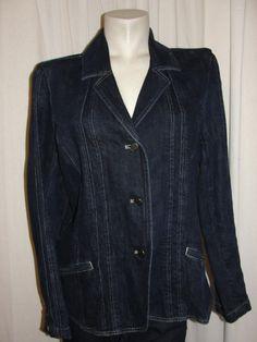 J. JILL Blazer Dark Blue Denim Fitted Jean Jacket Stitch Seaming LSleeves Sz 12 #JJill #JeanJacket