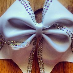 White cheer bow with ab rhinestone trim. by TonTonsBowtique, $15.00