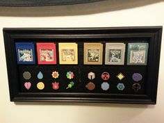 It's not the best, but I finally finished my shadow box for the first 2 Generati. It's not the best, but I finally finished my shadow box for the first 2 Generations. Pokemon Decor, Pokemon Room, Nerd Decor, Game Room Decor, Shadow Box, Geek Room, Video Game Rooms, Video Game Decor, Nerd Cave