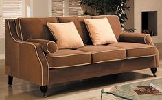 Carolyn Sofa with Contrast Piping - traditional - sofas - Overstock