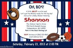 15 Baby Shower Invitations Personalized with Red, White & Blue Sports Theme #WeDoFavors #BabyShower
