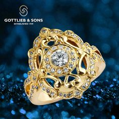 Feel like royalty with this Yellow Gold Diamond ring. This dramatic… Gold Jewelry, Jewlery, Vintage Style Rings, Right Hand Rings, Open Weave, Gold Diamond Rings, Round Diamonds, Sons, Royalty