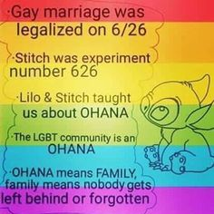 supreme  court legalizes gay marriage nationwide on june 26th or 6/26 . stitch fortold the future!!!! #stitch #same-sex marriage legalized