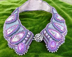 Blue Agate bead embroidered collar style necklace. by suegoode