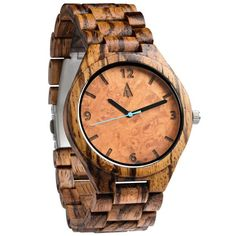 The all Zebrawood wooden watch shows a Diameter of the dial 1.7 inches. Strap and case are made of 100% natural Zebrawood.