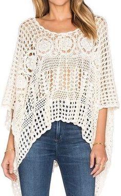 Crochet poncho PATTERN, lacy crochet designer poncho, boho top pattern. - favoritepatterns.com #CrochetTop