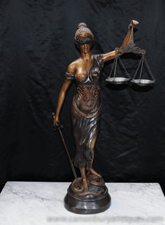 "Hello, It's interesting how the Greek goddess ""Themis"" has a sword in one hand & the divine scales of justice in the other. Speaking of scales of justice I'm a Libran & can relate to divine justice. Lady Justice Statue, Art Deco Tattoo, Goddess Tattoo, Protest Art, Sculpture Art, Sculptures, Bronze, Blind, Antigua"