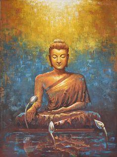Buddha Reflection, Painting by Kamal Rao Lotus Buddha, Art Buddha, Buddha Artwork, Buddha Kunst, Buddha Zen, Buddha Buddhism, Buddha Decor, Gautama Buddha, Budha Painting