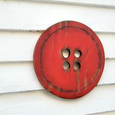 Button Wooden Sign Red Oversized Wooden Sign. $28.00, via Etsy.