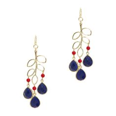 "KL Collection Jamie Earrings.  The leaf motif branches out on these Jamie drop earrings. Five open leaves hang from a French wire with three navy teardrops and red beads providing a burst of color.  - Resin stones, faceted beads, metal  - 2 1/4"" long.  Priced at 32.00.  To make a purchase or see more of what's in stock, click on the link.  https://dltart.kitsylane.com/index.php?file=pick_detail=637=1#reviewLinkId"