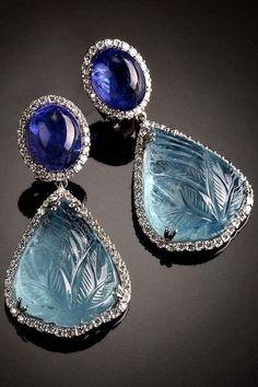 Veschetti - ISTAR Diamonds, tanzanite and aquamarine earrings