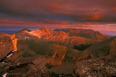Sunrise view from the top of Humboldt Peak (14,064 ft), 37th highest Colorado fourteener. View looking north along the spine of the Sangre de Cristo Range.