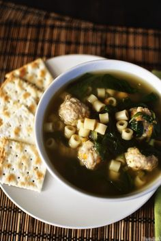 Italian Wedding Soup - Pass The Sushi Herb Recipes, Italian Recipes, Soup Recipes, Cooking Recipes, Healthy Recipes, Savoury Recipes, Healthy Meals, Clean Lunches, Wedding Soup